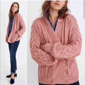 Madewell Bubble-Sleeve Cableknit Cardigan Sweater